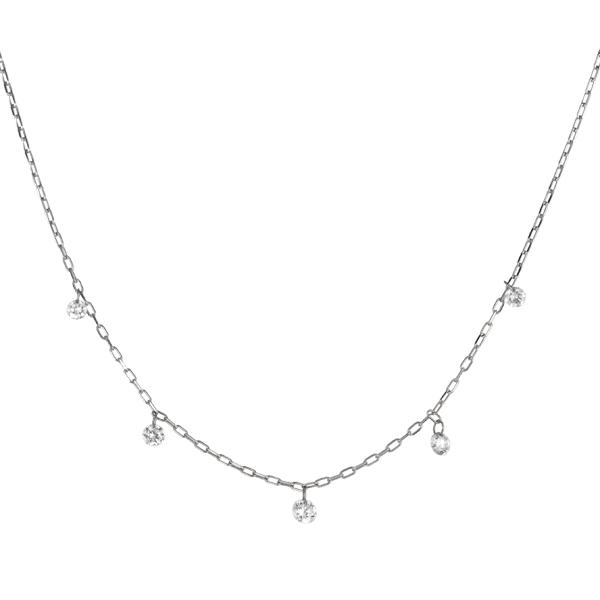 ダイヤモンドネックレス(ステーション/K18ホワイトゴールド/レーザーホール/0.18ct)