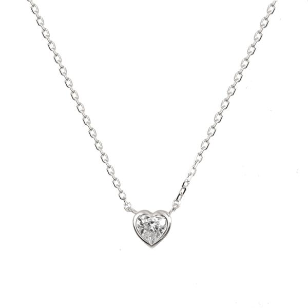 ダイヤモンドペンダント(0.1ct/FカラーUP/SI1UP/ハート/プラチナ/フクリン)